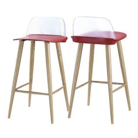 Set de 2 scaune de bar PAUL-TR rosu