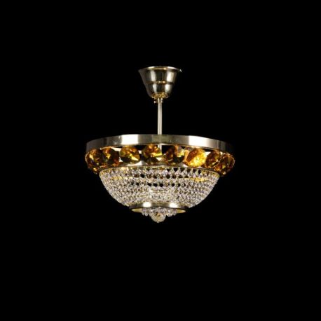 Lustra Cristal Bohemia diametru 30cm, auriu/ light topaz