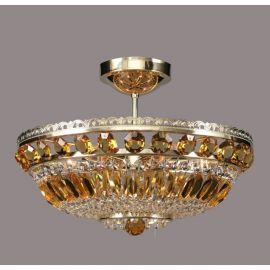 Lustra Cristal Bohemia diametru 45cm, light topaz - Cristal Bohemia - Plafoniere Cristal Bohemia