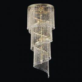 Lustra spirala Cristal Bohemia lungime 100cm, auriu
