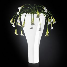 Aranjament floral LOS ANGELES IN SHINY VASE, alb 160cm