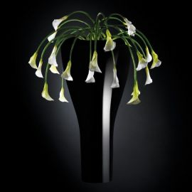 Aranjament floral LOS ANGELES IN SHINY VASE, negru 160cm