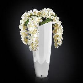 Aranjament floral OSLO IN SHINY VASE, alb 130cm - Evambient VG - Aranjamente florale LUX