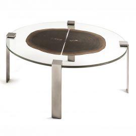 Masuta oval design Glass&Wood FORESTA H-41cm