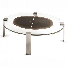 Masuta ovala design Glass&Wood FORESTA H-31cm