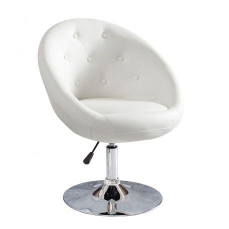 Scaun pivotant Couture crom/ alb - Evambient VC - Scaune