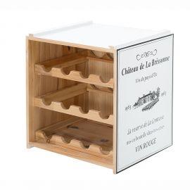 Set 2 rafturi de vin design Shabby Chic, Belle Affaire alb - Evambient VC - Biblioteci-Rafturi
