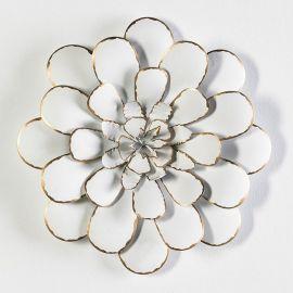 Decoratiune perete din metal alb/ auriu Flower 49cm