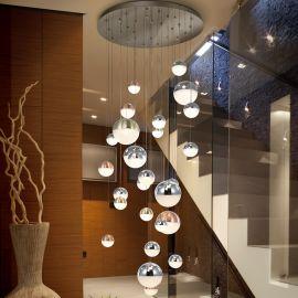 Lustre casa scarii - Lustra LED casa scarii XXL design modern cu 27 pendule Sphere