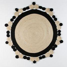 Covor DOON 200cm iuta alb/ negru