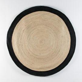 Covor din iuta DOON 200cm, alb/ negru