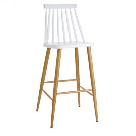 Scaune Bar - Set de 2 scaune bar stil clasic Ludmilla alb