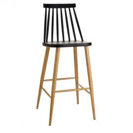 Scaune Bar - Set de 2 scaune bar stil clasic Ludmilla negru