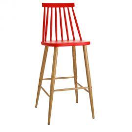 Scaune Bar - Set de 2 scaune bar stil clasic Ludmilla rosu
