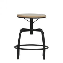 Set 2 tabureti design industrial Emiel negru
