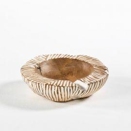 Vas decorativ din lemn Bowl 30, natur/ alb