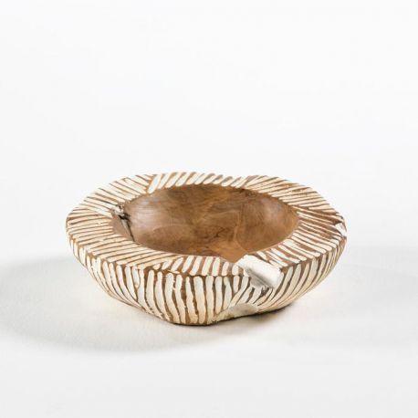 Vas decorativ din lemn Bowl 30, natur/ alb - Evambient TN - Parfumuri de camera, Idei cadouri, Obiecte decorative