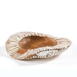 Vas decorativ din lemn Bowl 40, natur/ alb - Evambient TN - Parfumuri de camera, Idei cadouri, Obiecte decorative