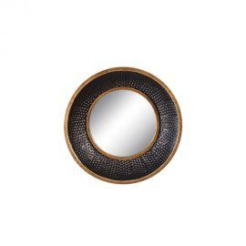 Oglinda de perete metal Negru- auriu, 41cm
