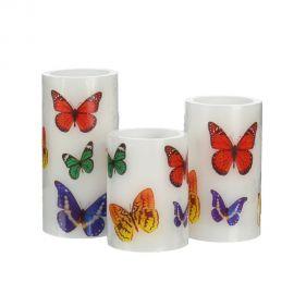 Set de 3 lumanari decorative cu iluminat LED, Fluturi