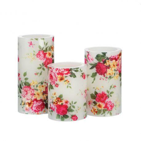 Set de 3 lumanari decorative cu iluminat LED, Trandafiri