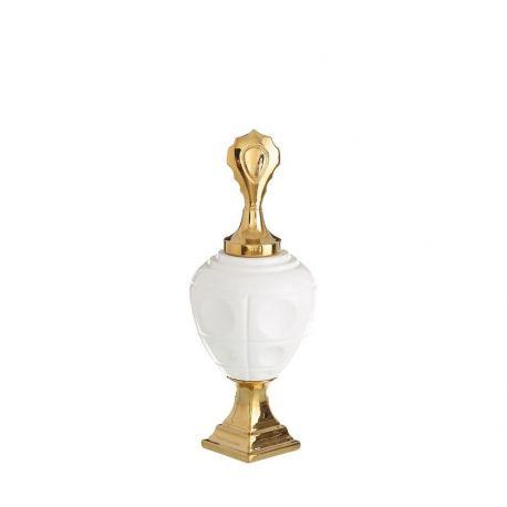 Vas decorativ din ceramica TIBOR 50cm, alb/ auriu - Evambient DZ - Vaze