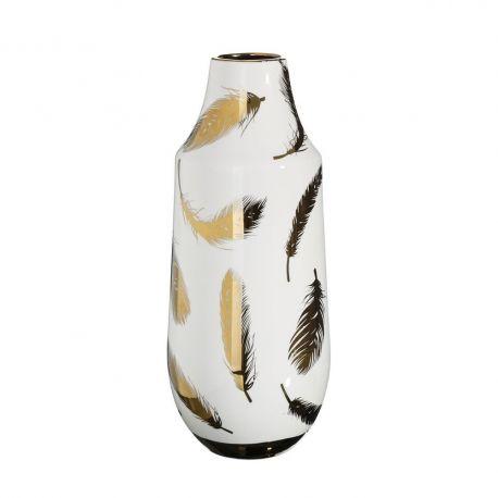 Vaza din ceramica Pene 39cm, alb/ auriu - Evambient DZ - Vaze