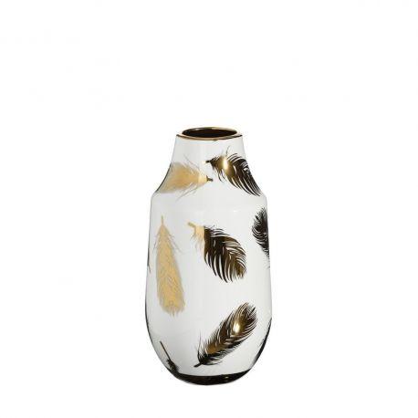 Vaza din ceramica Pene 30cm, alb/ auriu - Evambient DZ - Vaze