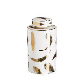 Vas decorativ din ceramica Pene 30cm, alb/ auriu