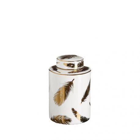 Vas decorativ din ceramica Pene 20cm, alb/ auriu - Evambient DZ - Vaze