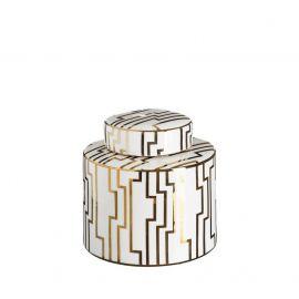 Vas decorativ din ceramica Allena 19,5cm, alb/ auriu