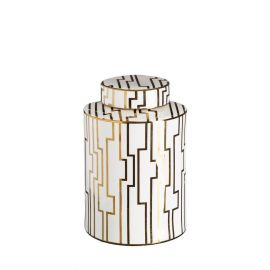 Vas decorativ din ceramica Allena 31cm, alb/ auriu