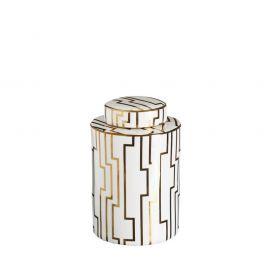 Vas decorativ din ceramica Allena 26cm, alb/ auriu