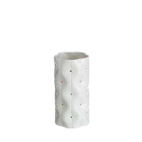 Vaza din ceramica Abbey 25cm, alb/ auriu