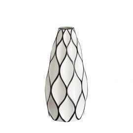 Vaza din ceramica Romb 39cm alb/ negru