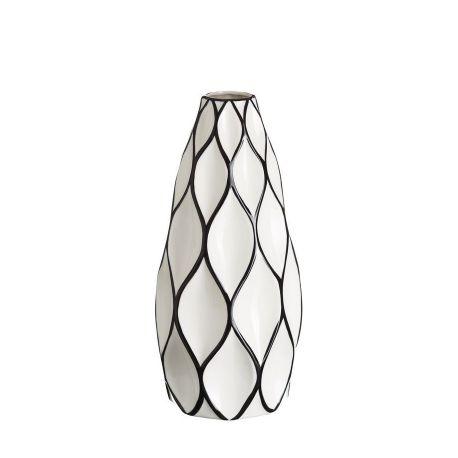Vaza din ceramica Romb 39cm alb/ negru - Evambient DZ - Vaze
