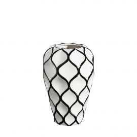 Vaza din ceramica Romb 34cm alb/ negru - Evambient DZ - Vaze