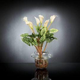 Aranjament floral ALFEO CALLA TRIS alb