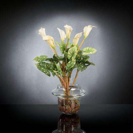 Aranjament floral ALFEO CALLA TRIS alb - Evambient VG - Aranjamente florale LUX