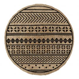 Covor rotund din iuta CECILE 100cm, natur/ negru - Evambient Barcelona Living - Covoare