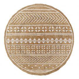 Covor rotund din iuta CECILE 100cm, natur/ alb