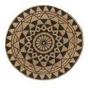 Covor rotund din iuta CHEER 150cm, natur/ negru