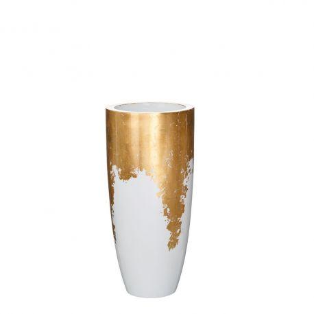 Vaza, Vas decorativ inaltime 75cm Adah, alb /auriu