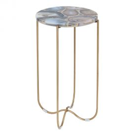 Masuta design unicat Onyx agat albastru/ auriu