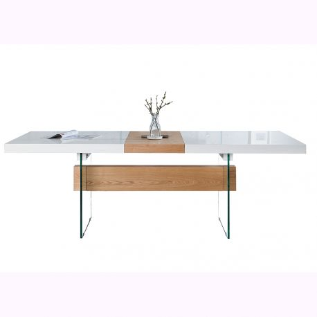 Mese dining - Masa Dining extensibila Onyx 160-200cm, alb/ stejar