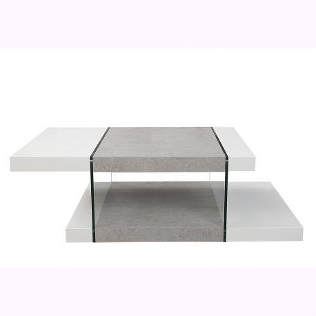 Masuta Onyx 110cm, alb/ gri beton - Evambient VC - Masute Living