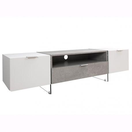 Comoda TV Onyx 160cm, alb/ gri beton