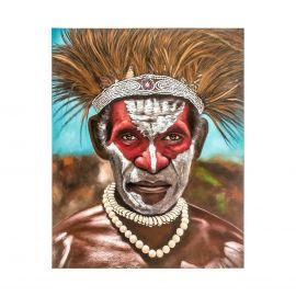 Tablou stil etnic GUERRERO PAPUA, 120x150cm