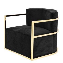Fotoliu pivotant design LUX Emilio, auriu/ negru