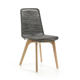 Scaun din lemn pentru interior si exterior, GLENDON gri deschis - Evambient Barcelona Living - Scaune